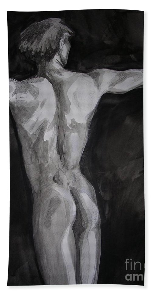 Ink Hand Towel featuring the painting Untitled by Holly DeSelms