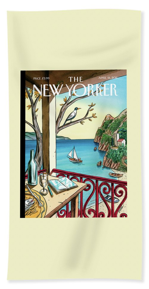Balcony Hand Towel featuring the painting New Yorker April 18th, 2011 by Jacques de Loustal