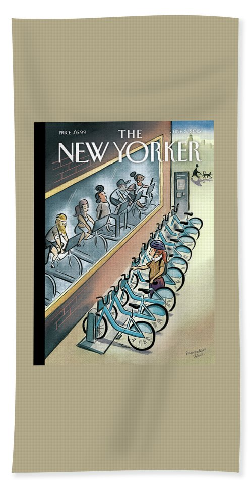 Workout Bath Sheet featuring the painting New Yorker June 3, 2013 by Marcellus Hall