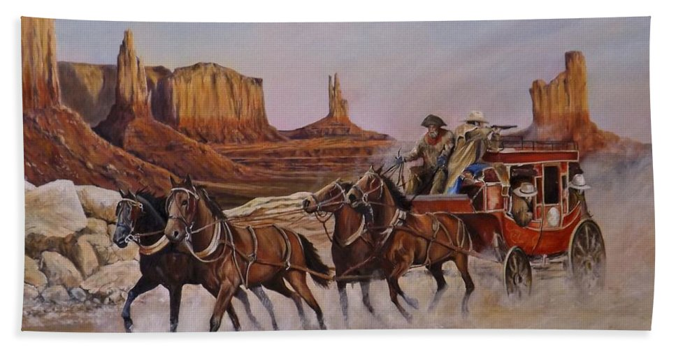 Wild West Bath Sheet featuring the painting Unwanted Company by Barry BLAKE