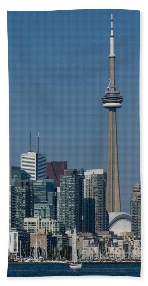 Georgia Mizuleva Bath Sheet featuring the photograph Up Close And Personal - Cn Tower Toronto Harbor And Skyline From A Boat by Georgia Mizuleva