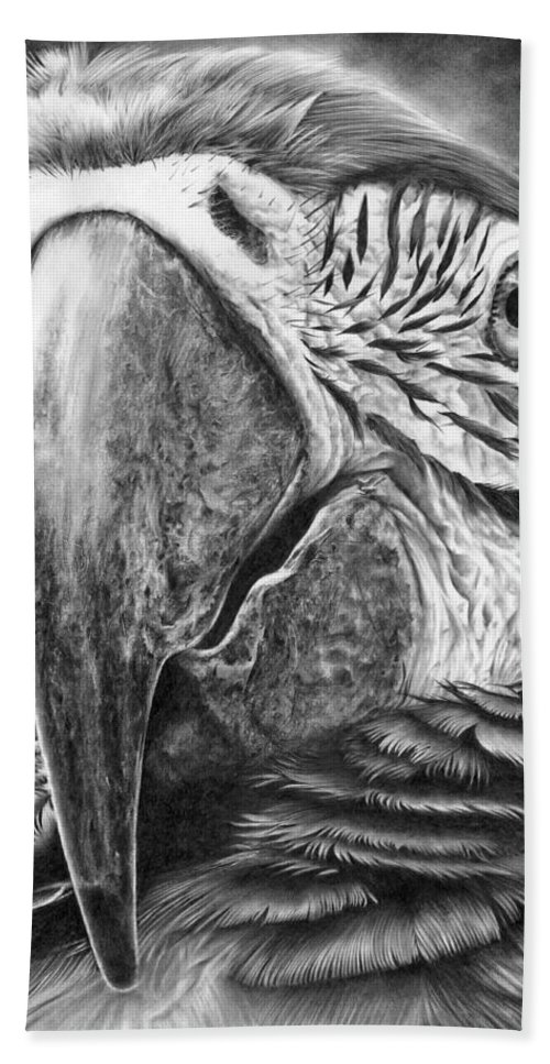 Parrot Hand Towel featuring the drawing Up Close And Personal by Peter Williams