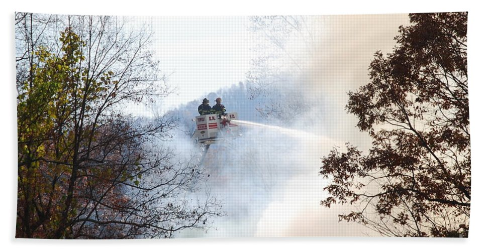 Fire Bath Towel featuring the photograph Up In Smoke by Eric Liller