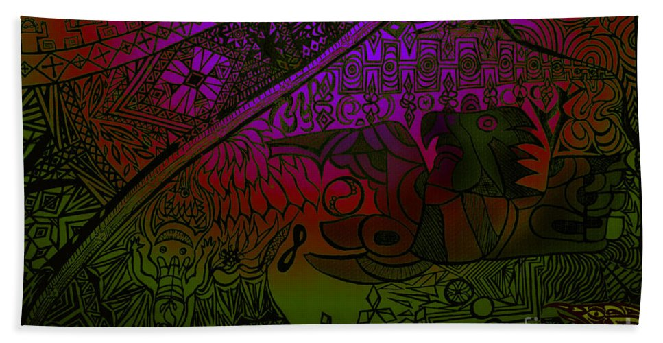 Tribal Hand Towel featuring the digital art UP by Michelle S White