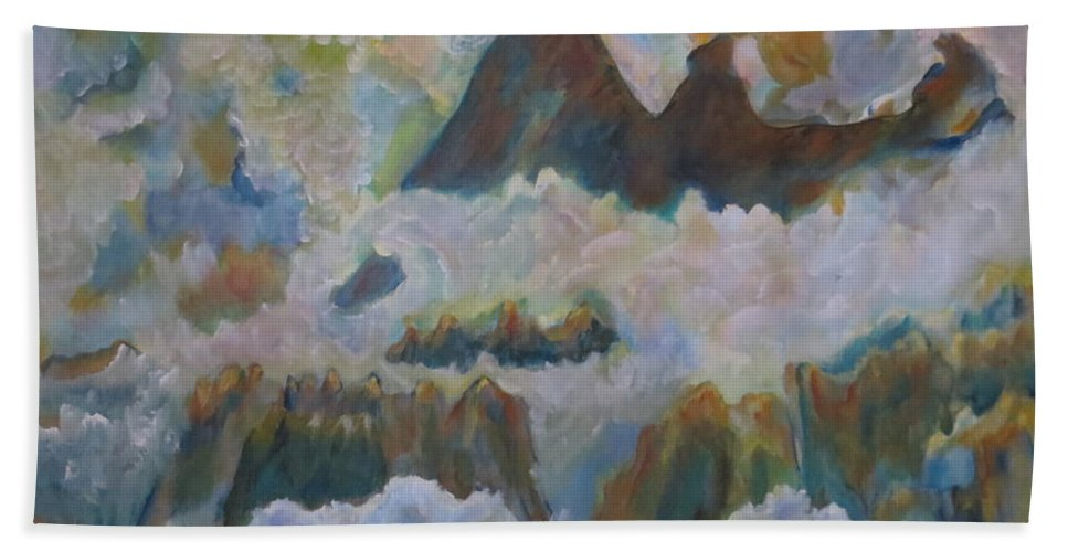 Abstract Hand Towel featuring the painting Up On Cloud Nine by Soraya Silvestri