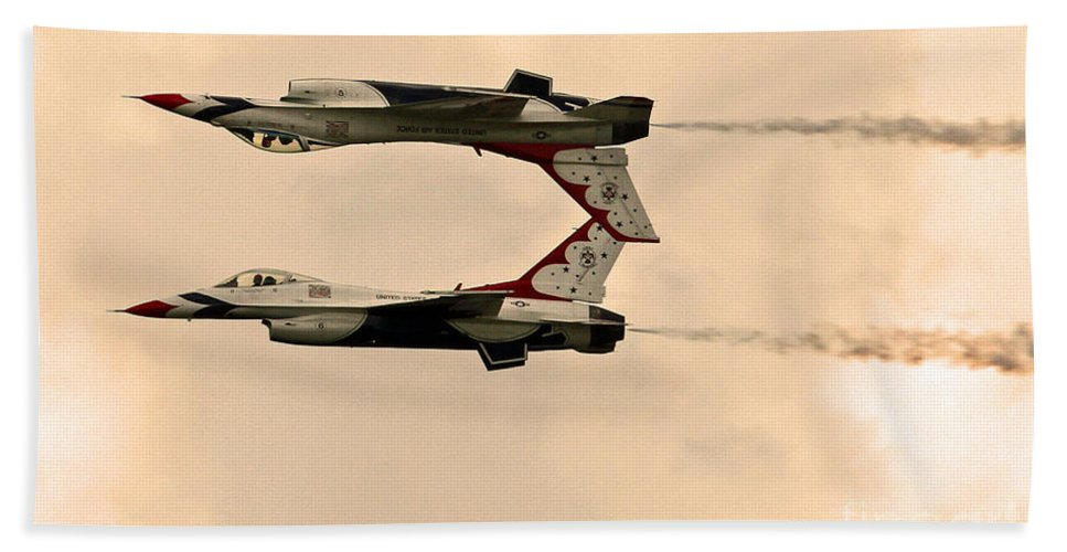 Tico Warbird Airshow Hand Towel featuring the photograph up side down Thunderbird's by Davids Digits