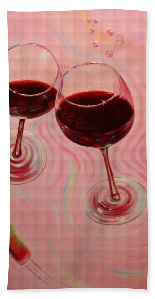 Flying Wine Cork Hand Towel featuring the painting Uplifting Spirits II by Sandi Whetzel