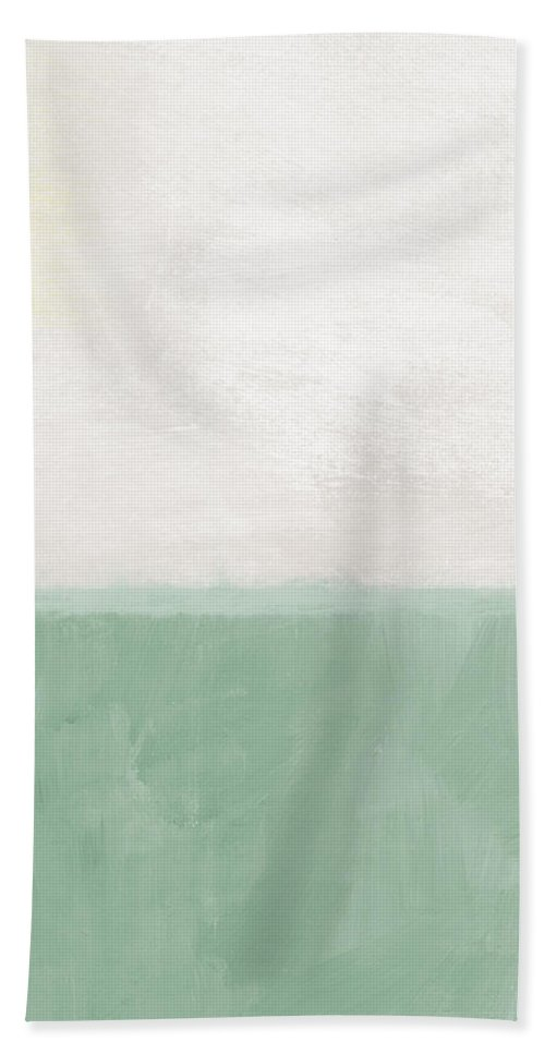 Abstract Landscape Bath Sheet featuring the painting Upon Our Sighs by Linda Woods