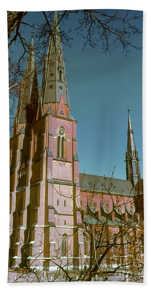 Cathedral Cathedrals Uppsala Sweden Church Churches City Cities Cityscape Cityscape Building Buildings Structure Structures Architecture Steeple Steeples Place Places Of Worship Hand Towel featuring the photograph Uppsala Cathedral Spires by Bob Phillips