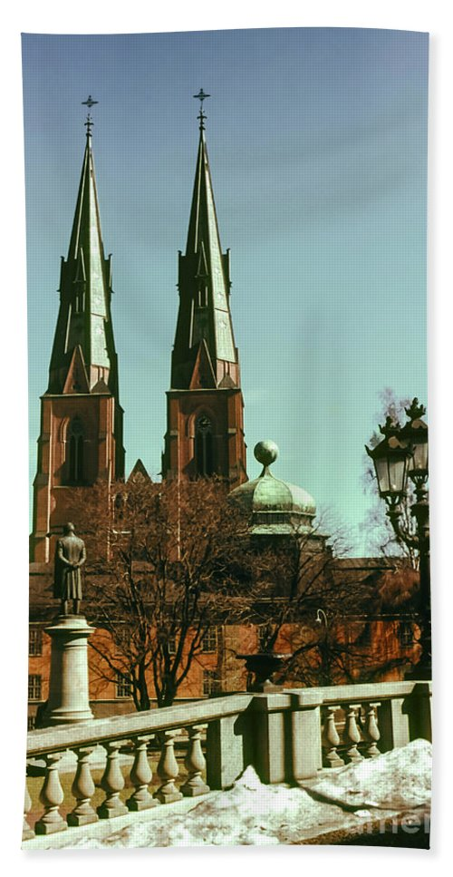 Cathedral Cathedrals Uppsala Sweden Church Churches City Cities Cityscape Cityscape Building Buildings Structure Structures Architecture Steeple Steeples Place Places Of Worship Bridge Bridges Statue Statues Hand Towel featuring the photograph Uppsala Cathedral Steeples by Bob Phillips