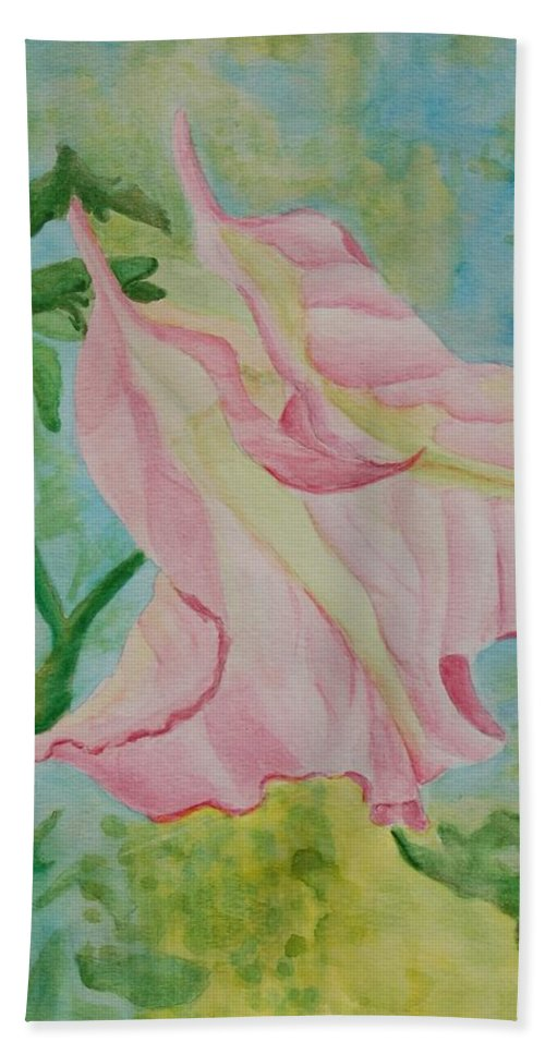 Linda Brody Hand Towel featuring the painting Upside Down Watercolor by Linda Brody