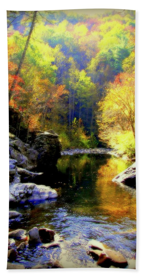 Smokey Mountains Hand Towel featuring the photograph Upstream by Karen Wiles