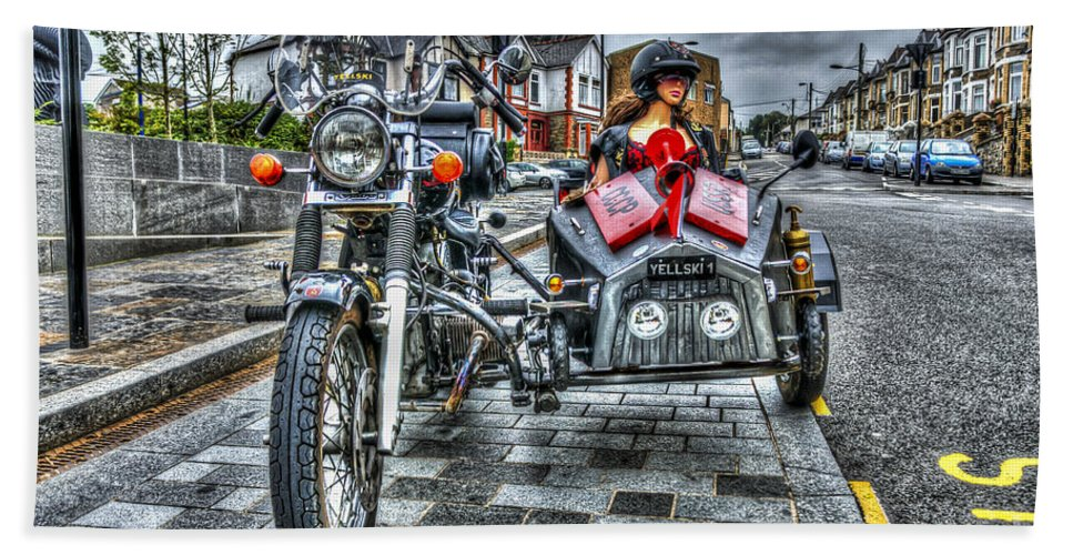 Ural Wolf 750 And Sidecar Hand Towel featuring the photograph Ural Wolf 750 And Sidecar by Steve Purnell