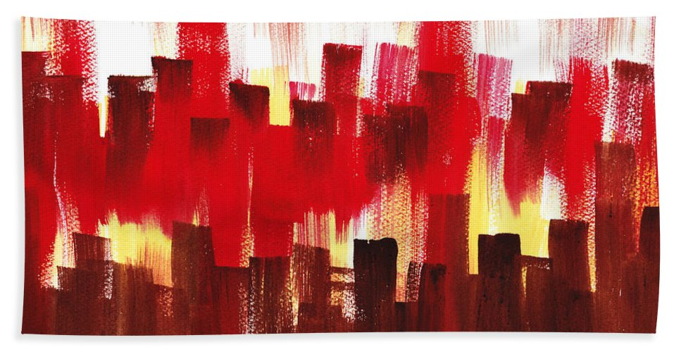 Abstract Hand Towel featuring the painting Urban Abstract Evening Lights by Irina Sztukowski