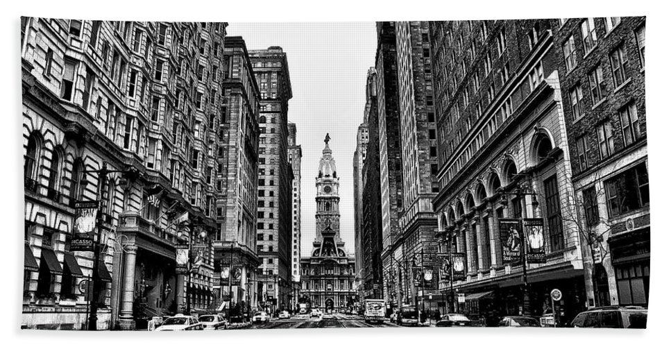 City Hand Towel featuring the photograph Urban Canyon - Philadelphia City Hall by Bill Cannon