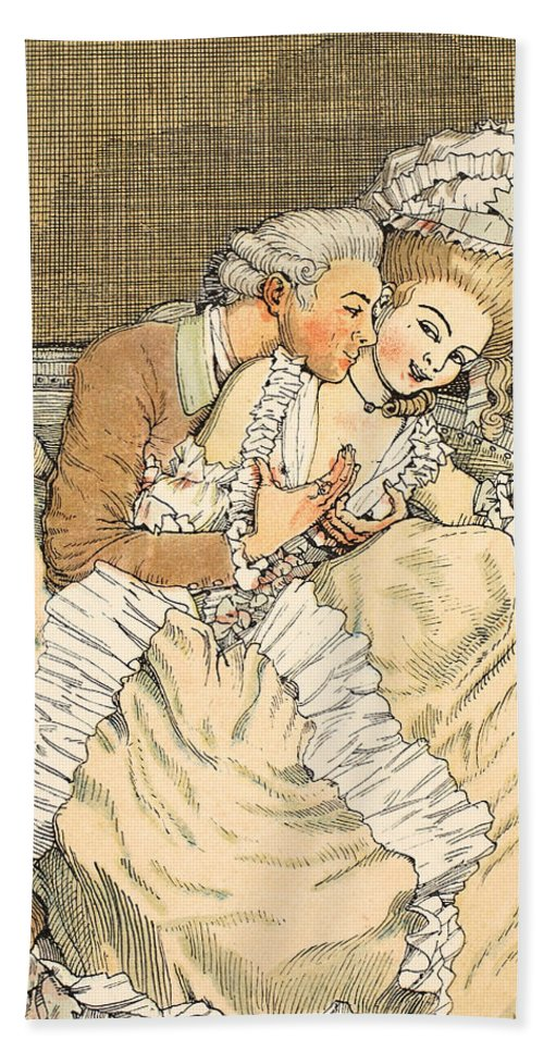 Somov Hand Towel featuring the drawing Urgent Love by Konstantin Andreevic Somov