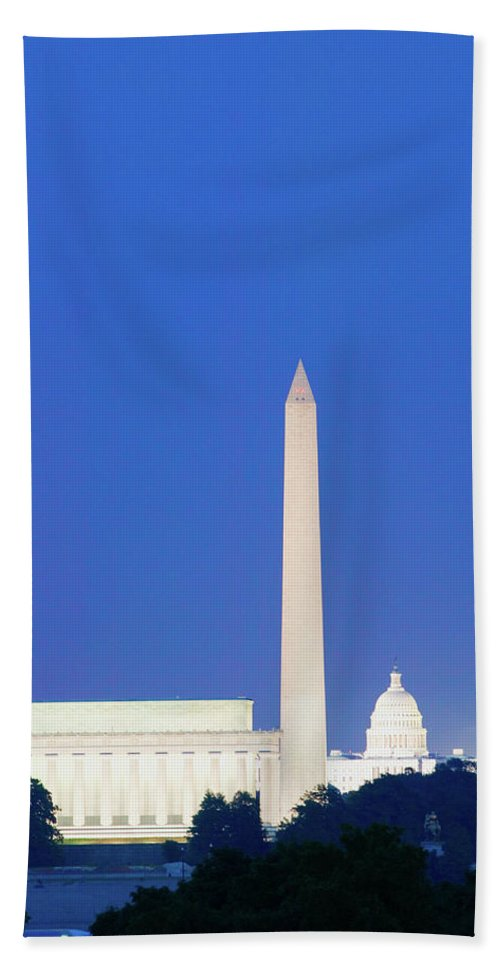 Photography Bath Sheet featuring the photograph Us Capitol, Washington Monument by Panoramic Images