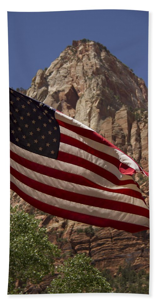 U.s Flag Hand Towel featuring the photograph U.s. Flag In Zion National Park by Debby Richards