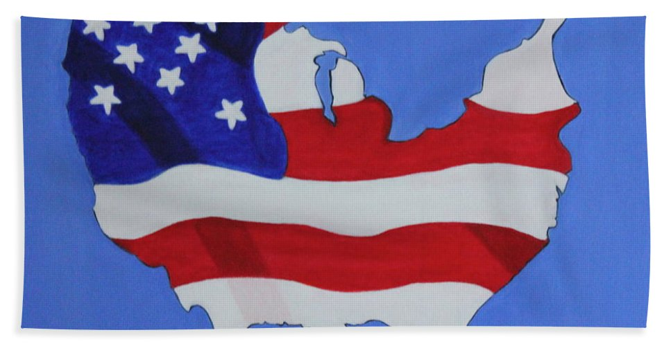 Us Flag Hand Towel featuring the painting Us Flag by Lorna Maza