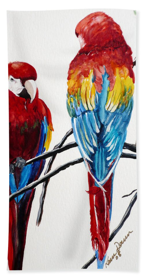 Macaws Bath Sheet featuring the painting Us Friends by Karin Dawn Kelshall- Best