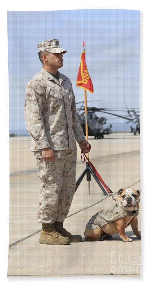 Platoon Hand Towel featuring the photograph U.s. Marine And The Official Mascot by Stocktrek Images