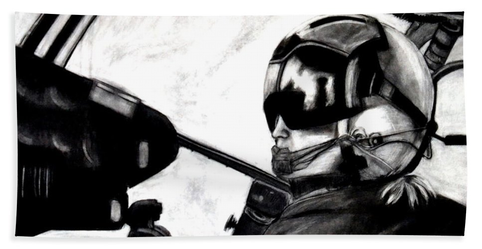United States Marines Bath Sheet featuring the drawing U.s. Marines Helicopter Pilot by Katy Hawk