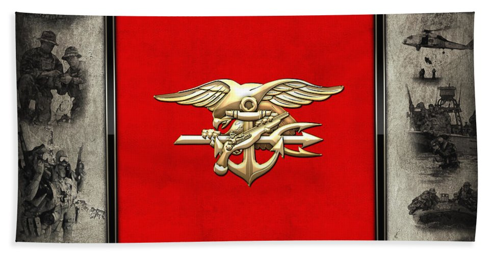 U  S  Navy S E A Ls Trident Emblem Over Navy Seals Collage Hand Towel
