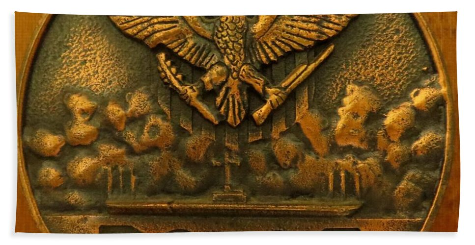 Antique Hand Towel featuring the photograph Uss Boxer Plaque by Zina Stromberg