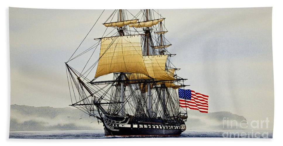 Tall Ship Hand Towel featuring the painting Uss Constitution by James Williamson