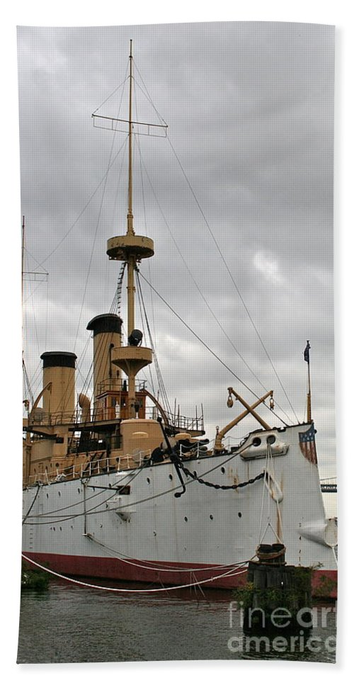 Olympia Bath Towel featuring the photograph Uss Olympia by Rick Monyahan