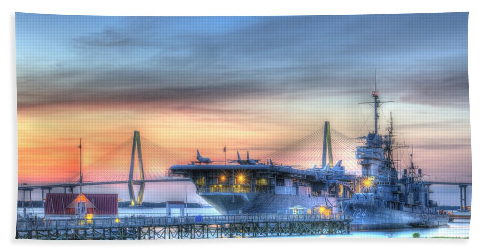 Sunset Bath Sheet featuring the photograph Uss Yorktown by Dale Powell