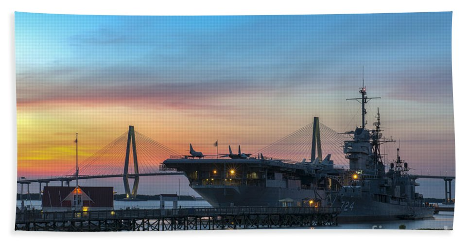 Sunset Bath Sheet featuring the photograph Uss Yorktown Sunset by Dale Powell