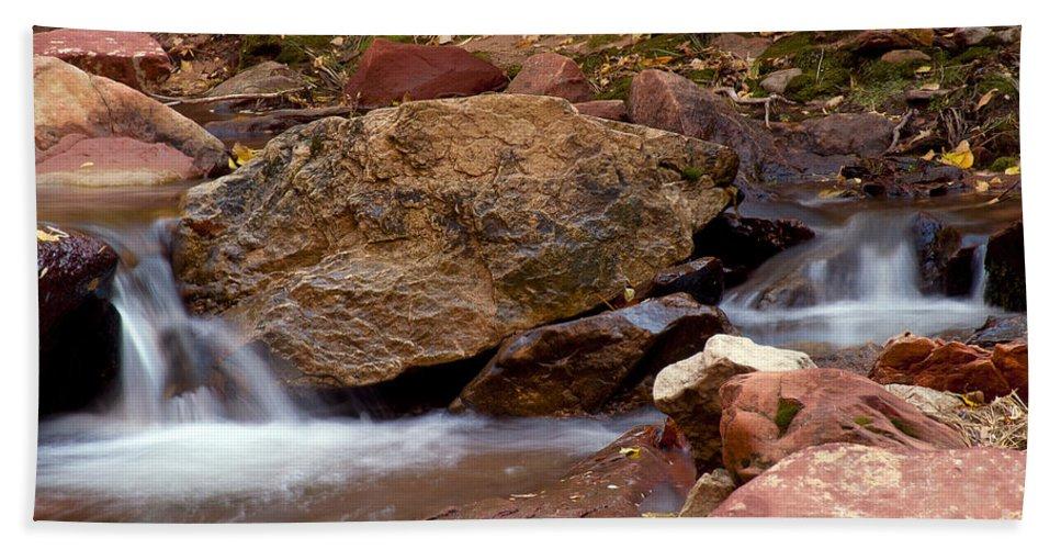 Zion National Park Utah Parks Water Cascade Cascades Stream Streams Pool Pools North Creek Creeks Subway Trail Trails Landscape Landscapes Rock Rocks Hand Towel featuring the photograph Utah Creek Cascades by Bob Phillips