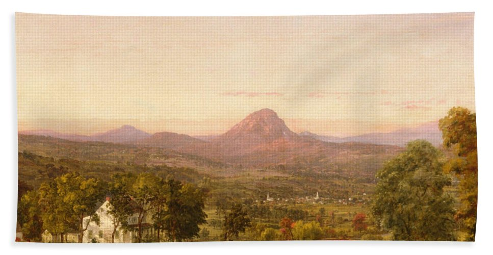 Jasper Francis Cropsey Bath Sheet featuring the painting Autumn Landscape Sugar Loaf Mountain. Orange County New York by Jasper Francis Cropsey