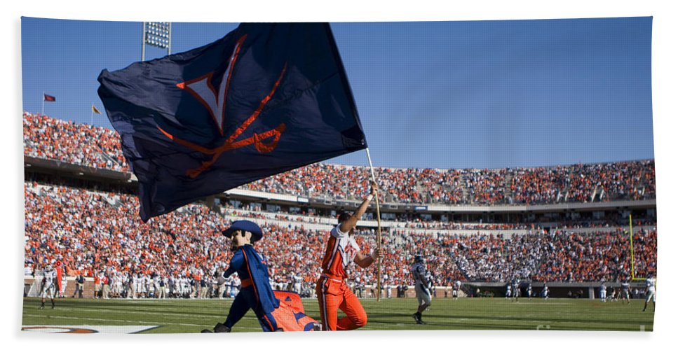Cheerleader Bath Sheet featuring the photograph Uva Virginia Cavaliers Football Touchdown Celebration by Jason O Watson