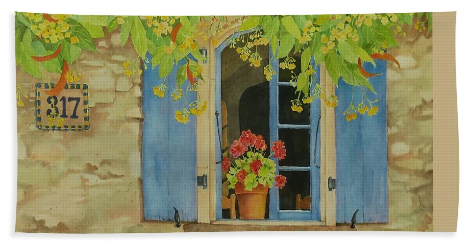 France Hand Towel featuring the painting Vacation Memory by Mary Ellen Mueller Legault
