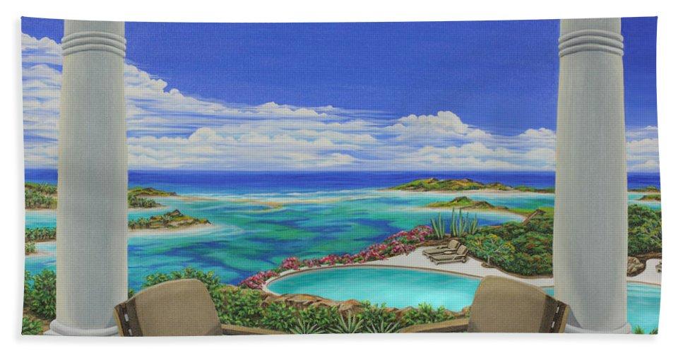 Ocean Bath Sheet featuring the painting Vacation View by Jane Girardot