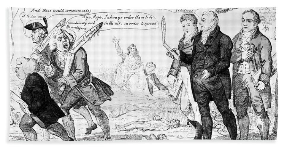 1808 Bath Sheet featuring the photograph Vaccination Cartoon, 1808 by Granger