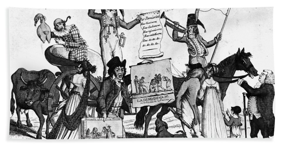 1800 Hand Towel featuring the photograph Vaccination Cartoon, C1800 by Granger