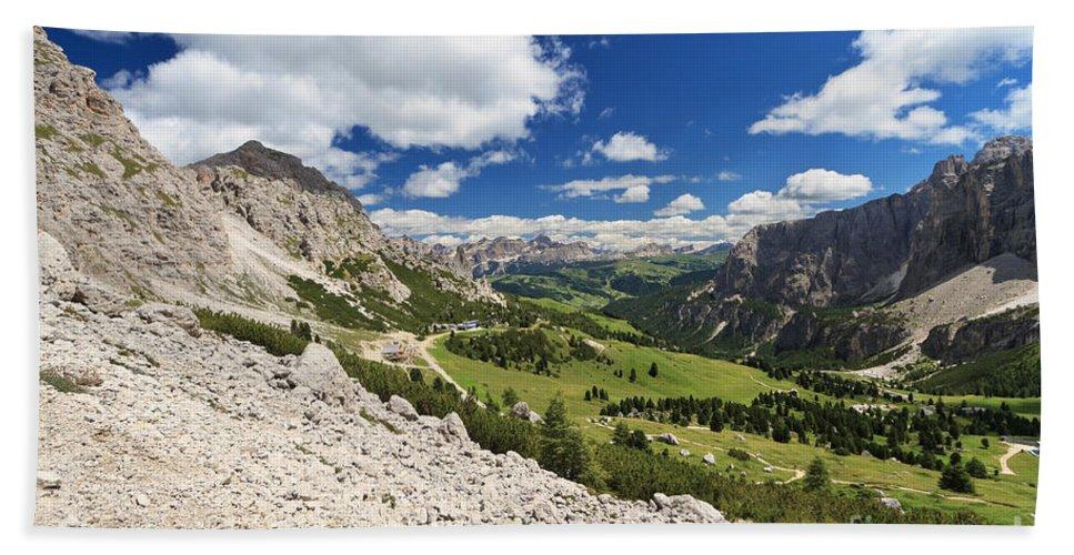 Aerial Bath Sheet featuring the photograph Val Badia From Gardena Pass by Antonio Scarpi