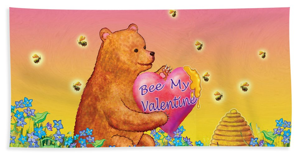 Valentine Baby Bear Hand Towel featuring the painting Valentine Baby Bear by Teresa Ascone
