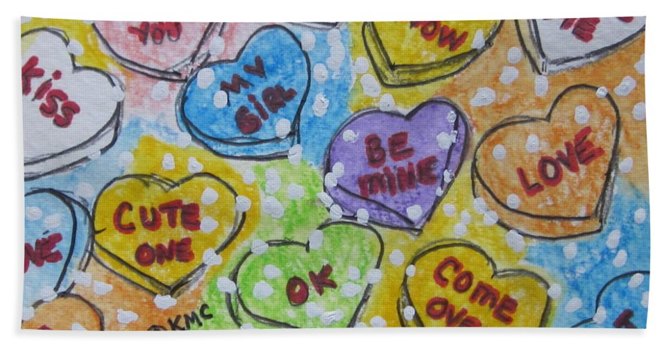 Valentine Hand Towel featuring the painting Valentine Candy Hearts by Kathy Marrs Chandler