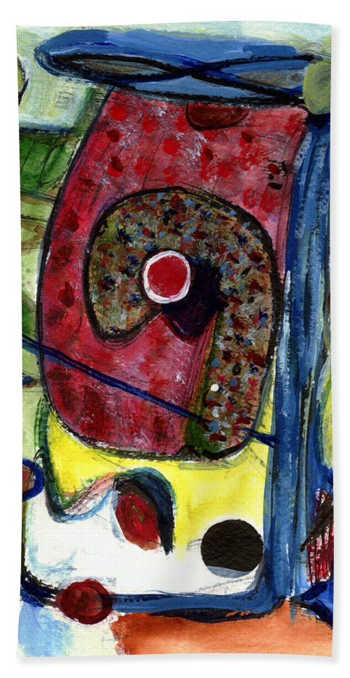 Abstract Art Hand Towel featuring the painting Valentine by Stephen Lucas