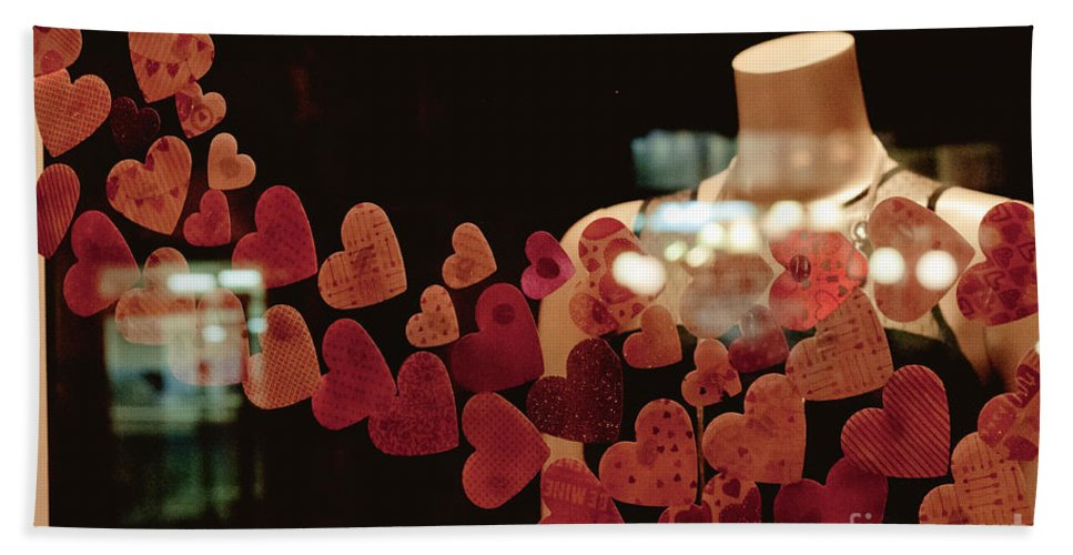 Valentine Bath Sheet featuring the photograph Valentine Window Display by Cheryl Baxter
