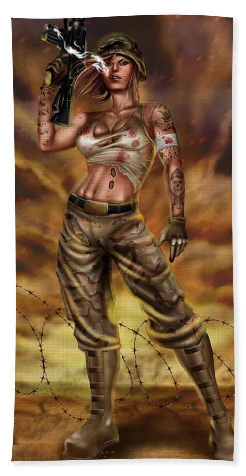 Comic Hand Towel featuring the painting Valkyrie One by Pete Tapang