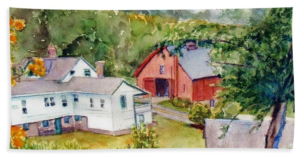 Barns Hand Towel featuring the painting Valley Falls by Katherine Berlin