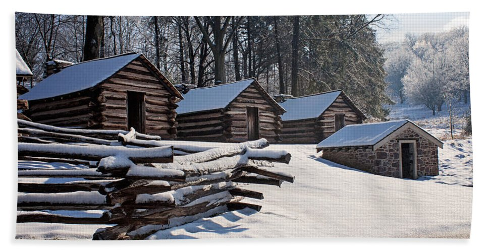 Rustic Bath Sheet featuring the photograph Valley Forge Cabins After A Snow by Michael Porchik