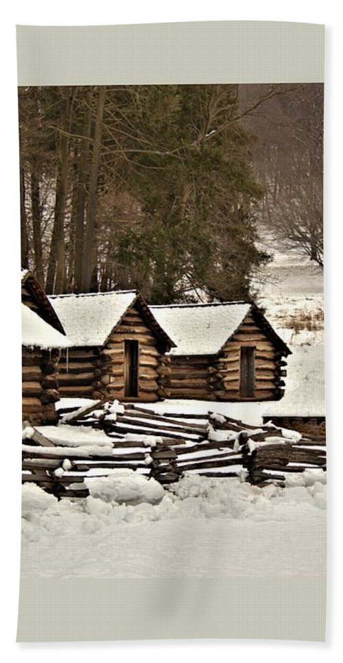 Valley Hand Towel featuring the photograph Valley Forge Cabins In Snow 2 by John Feiser