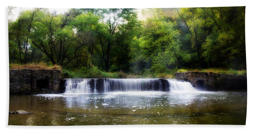Valley Bath Sheet featuring the photograph Valley Forge Pa - Valley Creek Waterfall by Bill Cannon