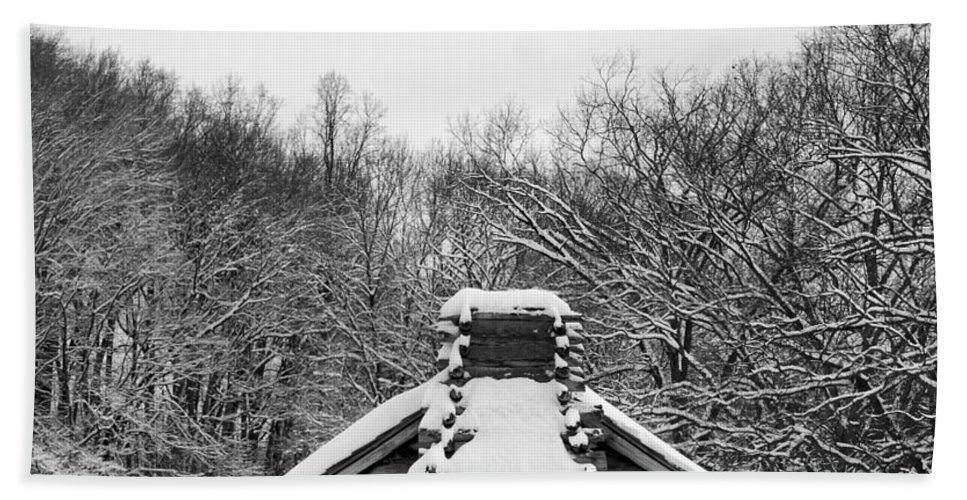 Black And White Hand Towel featuring the photograph Valley Forge Winter 13 Per Request by Terri Winkler